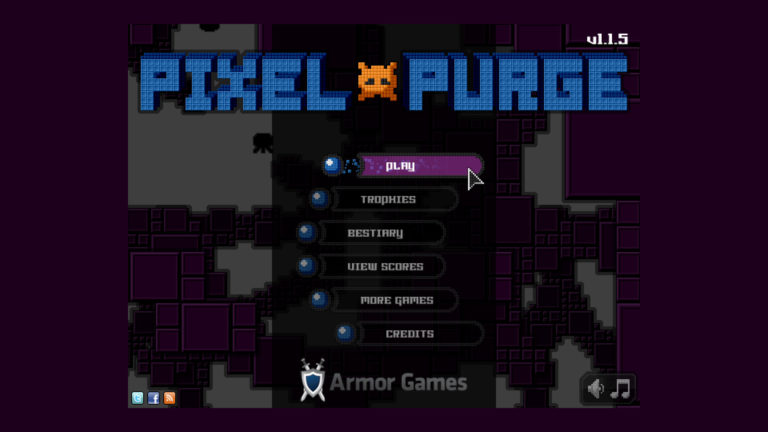 Pixel Purge game title screen