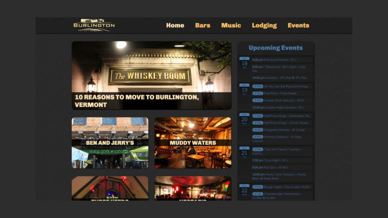ANightInBurlington website home page